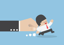 Businessman pulled by large hand. VECTOR, EPS10 Royalty Free Stock Photos