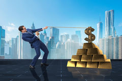 The businessman pulling dollar and gold bullions Royalty Free Stock Image