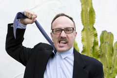 Businessman pulling on his tie Stock Photography