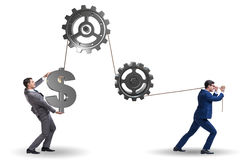 The businessman pulling mechanism and raising dollar Royalty Free Stock Photography