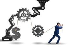 The businessman pulling mechanism and raising dollar Stock Photos