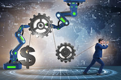 The businessman pulling mechanism and raising dollar Royalty Free Stock Photo