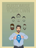 Businessman pulling open shirt to reveal logo. With custom facial hair and glasses Royalty Free Stock Photography
