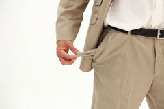 Businessman pulling out his empty pocket Royalty Free Stock Photography