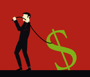Businessman pulling a rope dollar Stock Photography