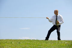 Businessman pulling rope in park Royalty Free Stock Photography