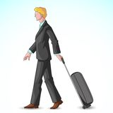 Businessman Pulling Travel Bag Royalty Free Stock Photography