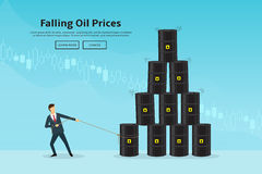 Businessman pulls the oil barrel. Concept of web banner with oil barrels and a financial chart. Vector illustration of oil industry in the form of a pyramid of Stock Photography