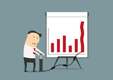 Businessman pumping up graph to increase profit Stock Photography