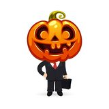 Businessman With Pumpkin on a Head Royalty Free Stock Image