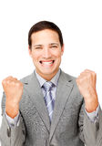 Businessman punching the air in celebration Royalty Free Stock Photo