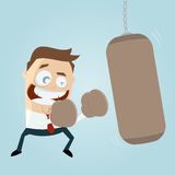 Businessman with punching bag clipart Royalty Free Stock Photo