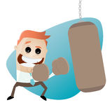 Businessman with punching bag clipart Stock Image