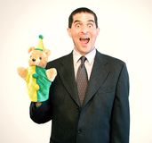 Businessman Puppet Surprise stock photo