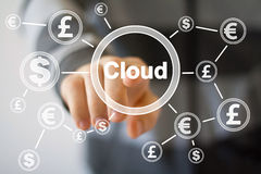 Businessman push button with cloud dollar eur currency web. Businessman push button with cloud dollar eur currency Stock Photography