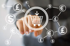 Businessman push button shopping cart with dollar web currency stock photo