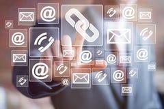 Businessman push button virtual link network mail Stock Photo