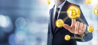 Businessman Push Cryptocurrency - Bitcoin Concept Stock Image