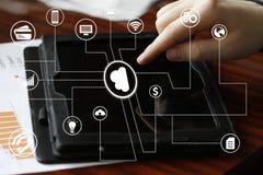 Businessman push online button cloud message network tablet Stock Image