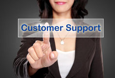 Businessman push to Customer support button on virtual screen. Portrait of Businessman push to Customer support button on virtual screen stock photo