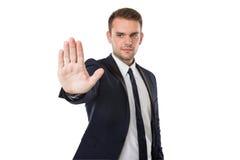 Businessman push to virtual screen royalty free stock photo