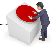 Businessman Pushed Button Represents Press Professional And Trade Stock Photo