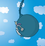 Businessman pushed by giant wrecking ball royalty free illustration
