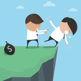 Businessman pushes his friend fall abyss. Stock Photo