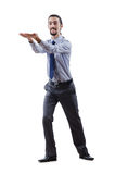 Businessman pushing away  obstacles Stock Photo