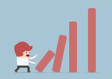 Businessman pushing bar graph, Dominoes effect concept. VECTOR, EPS10 Royalty Free Stock Photos