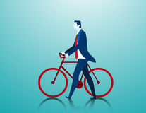 Businessman pushing a bicycle while going to work. Concept business illustration. Vector falt Stock Photos