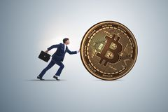 The businessman pushing bitcoin in cryptocurrency blockchain concept Stock Photography