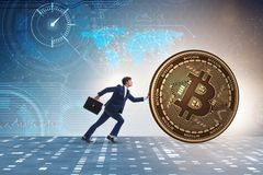 The businessman pushing bitcoin in cryptocurrency blockchain concept. Businessman pushing bitcoin in cryptocurrency blockchain concept Royalty Free Stock Photos