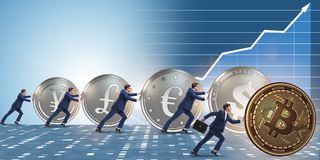 The businessman pushing bitcoin in cryptocurrency concept. Businessman pushing bitcoin in cryptocurrency concept Royalty Free Stock Photo