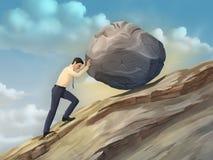 Businessman pushing a boulder Stock Images