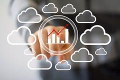 Businessman pushing button chart web diagram cloud network. Businessman pushing button chart diagram cloud network royalty free stock image