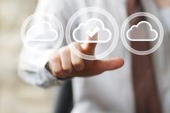 Businessman pushing button cloud web symbol Stock Photos
