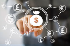 Businessman pushing button with dollar currency web Royalty Free Stock Photos