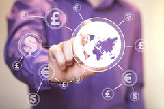 Businessman pushing button with dollar map currency web. Businessman pushing button with dollar map currency Stock Photography