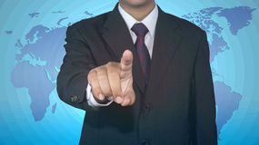 Businessman pushing button icon with dollar currency royalty free stock photography