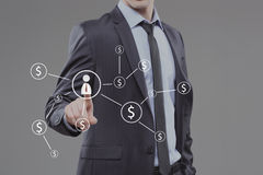 Businessman pushing button with icon worker. dollar virtual Royalty Free Stock Photos