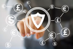 Businessman pushing button with shield security virus dollar currency. Web Stock Photo