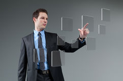 Future technology touching screen interface collection. Stock Photo