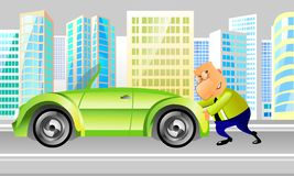 Businessman pushing a car Royalty Free Stock Images