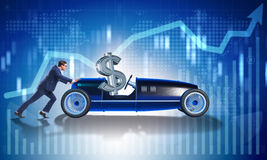 The businessman pushing car with dollar in driving seat Stock Photography