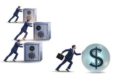 The businessman pushing dollar and beating competition Stock Images