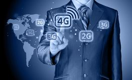 Businessman pushing 4g. This image has attached release Stock Image