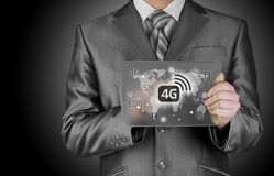 Businessman pushing 4g. This image has attached release Stock Photography
