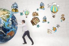 Businessman pushing globe near travelling sketch Royalty Free Stock Photos