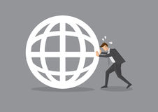 Businessman Pushing a Globe Symbol Royalty Free Stock Photography